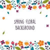 Frühlingsblume / Blumengrenze / Kranz-Hintergrund Druckschablone - Vector Illustration