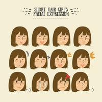 Gesichtsausdruck der Brunette-Mädchen des kurzen Haares vektor