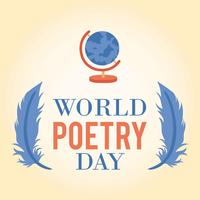 Weltpoesie-Tageslogo-Ikonen-Hintergrund - Vector Illustration