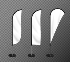 Realistisches Strandflaggenmodell Für die Werbung für Markenprodukte. vektor