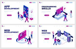 Set med isometrisk målsida mall för App and Web Development, Programmering, Hosting. Modern vektor illustration isometriska koncept dekorerade människor karaktär för webbutveckling.