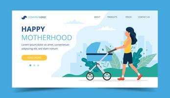 Glad modersmål landningssida - kvinna går med en barnvagn i parken. Koncept vektor illustration för föräldraskap produkter och tjänster.