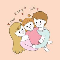 Nette Eltern der Karikatur und Babyvektor. vektor