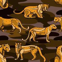Gezeichnetes nahtloses Muster des Leoparden Hand vektor