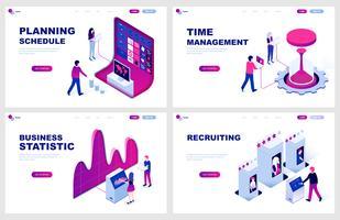 Set med isometrisk målsida mall för planering, tidshantering, statistik, rekrytering. Modern vektor illustration isometriska koncept dekorerade människor karaktär för webbutveckling.