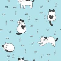 Nahtloser Mustervektor der netten Katze und der Fische der Karikatur.