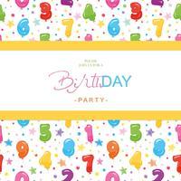 Födelsedagsfest inbjudningskort för barn. Inkluderat sömlöst mönster med blanka färgstarka ballongnummer. vektor