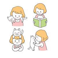 Tecknad söt tjej och katt uppsättning vektor