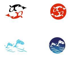 Koi-Fisch-Logo und Symbole vector Schablonenikonen