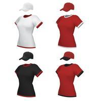 Weiblicher leerer einheitlicher Polo und Baseballmütze-Schablonensatz lokalisiert auf Weiß