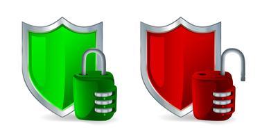 Sicherheitssymbol - Schild und Vorhängeschloss vektor