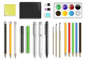 Set av olika kontorsmaterial i vektor