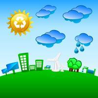 Grön planet återvinning, vind och solenergi vektor