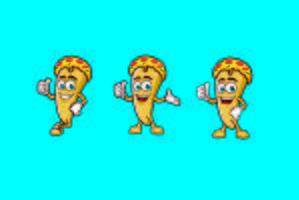 Pizza-Scheiben-Charakter-Maskottchenlogodesigns vektor