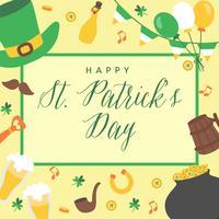 St Patrick Tageshintergrund-Hand gezeichnet. Irische Musik, Koboldhut, Flaggen, Bierkrüge, Goldschatzmünzen. Vektor-Illustration