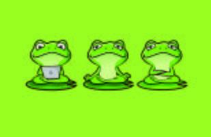 süßes Zen Frog Character Maskottchen mit Yoga Posen vektor