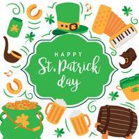 Handdragen Saint Patrick's Day Background. Irländsk musik, leprechaun hatt, flaggor, öl rånar, kruka med guldmynt.
