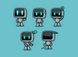 Süße Roboter Box Character Designs mit Emotionen Posen