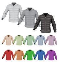 Down jacket mall set isolerad på vitt