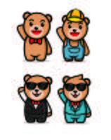 niedliche Teddybärcharakter-Maskottchenentwürfe