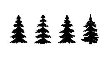 Sats med siluettpine eller julgran. Vektor illustration.
