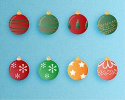 Set med julbollsdekoration i pappersskuren stil. Vektor illustration.