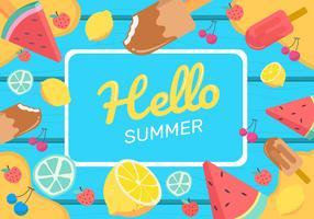 Sommerlebensmittel-Hintergrund-Vektor-Illustration