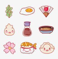 Japansk gastronomi söta kawaii teckningar