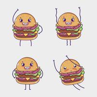 Fast-Food-Sammlung Kawaii Cartoons vektor