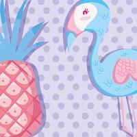 Punchy Pastellflamingo und Früchte vektor