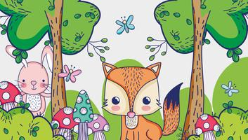 Fox in den Waldgekritzelkarikaturen