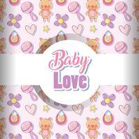 Baby kärlek mönster bakgrund vektor