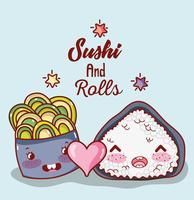 Sushi und Rollen nette kawaii Karikaturen vektor