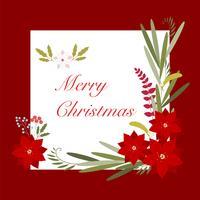 Julen lämnar dekorativt hälsningskort.