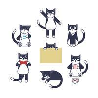 Outline-stil katt teckenuppsättning.