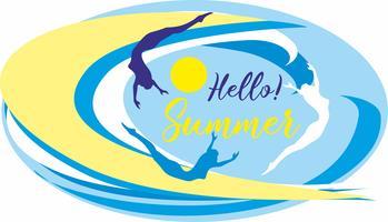 Hallo Sommer. Beschriftung. Meer. Wellen. Surfer. Seelandschaft. Design für Reisen und Urlaub. Vektor.