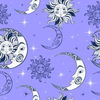 Sömlöst mönster. Sun Moon och stjärnor. Rymdbakgrund. Natthimlen. En magisk fe bakgrund. Vektor