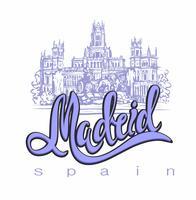 Resa. resa till Spanien. Staden Madrid. Skiss. Cybele Palace och fontän vid Plaza Cibeles i Madrid, Spanien. Designkoncept för turism industrin. Vektor illustration.