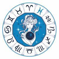 Zodiac sign Pisces en vacker tjej. Horoskop. Astrologi. Vektor.