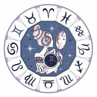 Sternzeichen Zwillinge ein schönes Mädchen. Horoskop. Astrologie. Vektor.