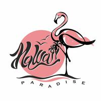 Hawaii. Text. Flamingo. Solnedgång. Logotyp. Resa. Semester. Välkomstkort. Turistnäringen. Vektor.