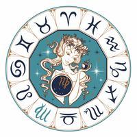Zodiac sign Virgo en vacker tjej. Horoskop. Astrologi. Vektor.