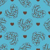 Sömlöst mönster. hjärtan på turkos bakgrund. Snygg bokstäver i form av ett hjärta. Jag älskar dig. Vektor.