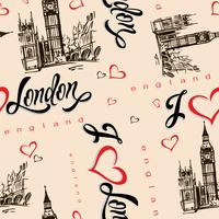 Nahtloses Muster. Ich liebe London. England. Beschriftung. Herz. Big Ben. Skizzieren. Vektor.