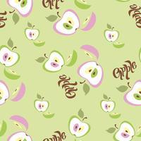 Sömlöst mönster. Apple bakgrund. Text. Frukt. Vektor illustration.