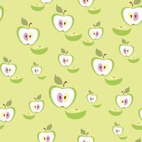 Sömlöst mönster. Apple bakgrund. Frukt. Vektor illustration.