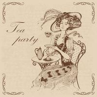 Vacker vintage dam. Tea party.Inscription. Tjej i en hatt som dricker te. Gravyr. Grafik. Brun. Vektor