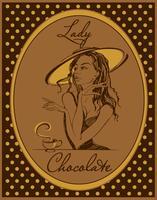 Varm choklad. Etiketten för drycken. Retro bild. Elegant tjej i en hatt. Årgång. Ram med polka prickar. Vektor.