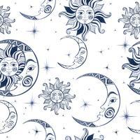 Nahtloses Muster. Sonne, Mond und Sterne. Raum Hintergrund. Nachthimmel. Eine magische Märchenkulisse. Vektor