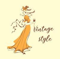 Vacker flicka i hatt med ett glas vin i. Vintagestil . Lady i retroklänning. Romantisk feminin bild. Vektor illustration.